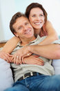 Happy middle aged couple embracing each other Stock Image