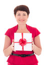 Happy middle aged woman with gift isolated on white background Stock Image