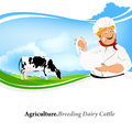 Happy milkman with a jug of milk and cow on green meadow Royalty Free Stock Images