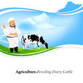 Happy milkman with a jug of milk and cow on green meadow Stock Image