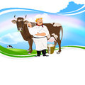 Happy milkman with a jug of milk and a cow on a green meadow Royalty Free Stock Images