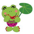 Happy miss froggy cartoon style illustration of a young female frog Stock Photo