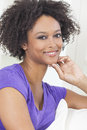 Happy mixed race african american girl a beautiful or young woman looking and thoughtful Royalty Free Stock Images