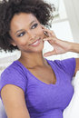 Happy mixed race african american girl a beautiful or young woman looking and thoughtful Royalty Free Stock Photo