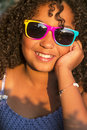Happy Mixed Race African American Girl Child Sunglasses Royalty Free Stock Photo