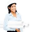 Happy mixed race business woman architect holding blue print iso Stock Photos