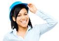 Happy mixed race business woman architect holding blue print iso smiling Stock Photography
