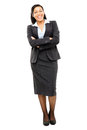 Happy mixed race business woman isolated on white background full length smiling Stock Photo