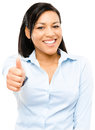 Happy mixed race business woman thumbs up isolated on white back Royalty Free Stock Photo
