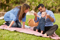 Happy Mixed Race Family Playing In The Park Royalty Free Stock Photo