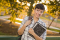 Happy Mixed Race Female Student Looking Away Stock Images