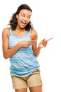 Happy mixed race woman pointing empty copy space isolated on whi girl Royalty Free Stock Photo