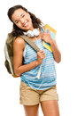 Happy mixed race woman student going back to school smiling Stock Image