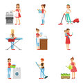 Happy Modern Housewives Cleaning And Housekeeping, Performing Different Household Duties