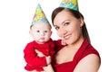 Happy mom and baby celebrating happy birthday Royalty Free Stock Photo