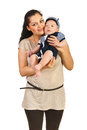 Happy mom with baby son holding isolated on white background Royalty Free Stock Images