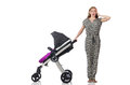 The happy mom with her baby in pram Royalty Free Stock Photo