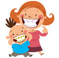 Happy mom and son smiling showing their colorful braces Stock Image