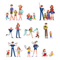 Happy moments in family life, activity and leisure. Family set colorful characters with parents and children vector Royalty Free Stock Photo