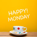 Happy monday word with coffee cup Royalty Free Stock Photo