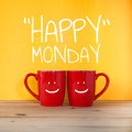 Happy Monday word.Two cups of coffee Royalty Free Stock Photo