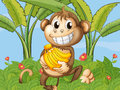 A happy monkey with bananas illustration of Stock Photography