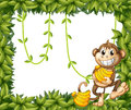 A happy monkey holding bananas illustration of on white background Stock Photos