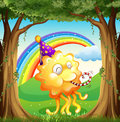 A happy monster at the forest illustration of Royalty Free Stock Photography