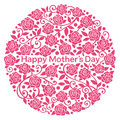 Happy mother's day rose flowers in circle ornament Stock Photography