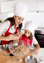 Happy mother baking with little daughter in apron and cook hat mixing flour at kitchen Royalty Free Stock Photo
