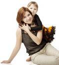 Happy mother with a child on a white background Royalty Free Stock Photos