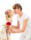 Happy mother and daughter celebrating mother's d Royalty Free Stock Image