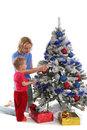 Happy mother and daughter over christmas tree 4 Royalty Free Stock Photo