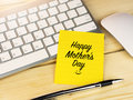 Happy Mother day with smiley icon face, on sticky note Royalty Free Stock Photo