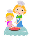 Happy mother with her daughter cooking in the kitc Stock Image