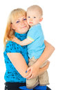 Happy mother holding a baby in her arms Royalty Free Stock Photography