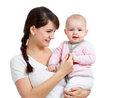 Happy mother holding her daughter baby isolated Royalty Free Stock Photos