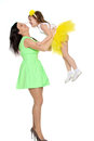 Happy mother holding a young daughter. Royalty Free Stock Photo