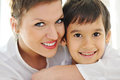 Happy mother hugging her son Royalty Free Stock Photo