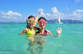 Happy mother and kid snorkeling in tropical sea family beach vacation Stock Photography