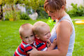 Happy mother and little boys Royalty Free Stock Image