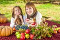 Happy mother with little daughter in autumn park beautiful and lying on a picnic harvest apples pumpkins grapes viburnum Stock Image