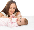 Happy mother looking at her baby infant Stock Images