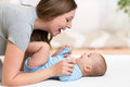 Happy mother playing with adorable baby her daughter Royalty Free Stock Photo