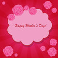 Happy mother s day background with cloud and flowers on the pink phone with rays Royalty Free Stock Image