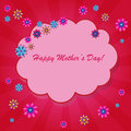 Happy mother s day background with cloud and flowers on the pink phone with rays Royalty Free Stock Photography