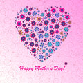 Happy mother s day background with floral heart on the pink phone with spirals Stock Photography