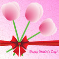 Happy mother s day background with flowers and bow on the pink phone Royalty Free Stock Photography