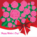 Happy mother s day background with flowers and bow on the pink phone Stock Images
