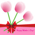 Happy mother s day background with flowers and bow on the white phone Stock Photos